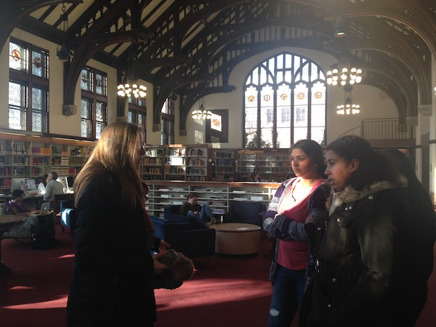 Touring Mount Holyoke's beautiful library.